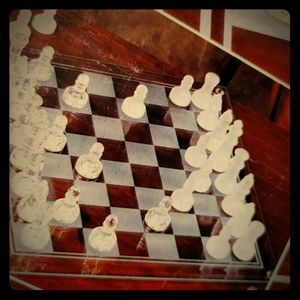 Crystal 2 in 1 chess checkers set